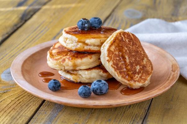 stack ricotta pancakes plate